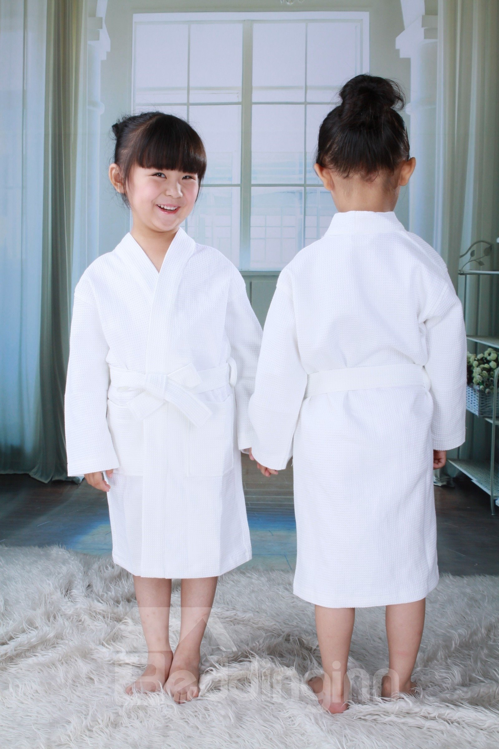 100% Egyptian Cotton Waffle Bathrobe Full Size for Boy and Girl