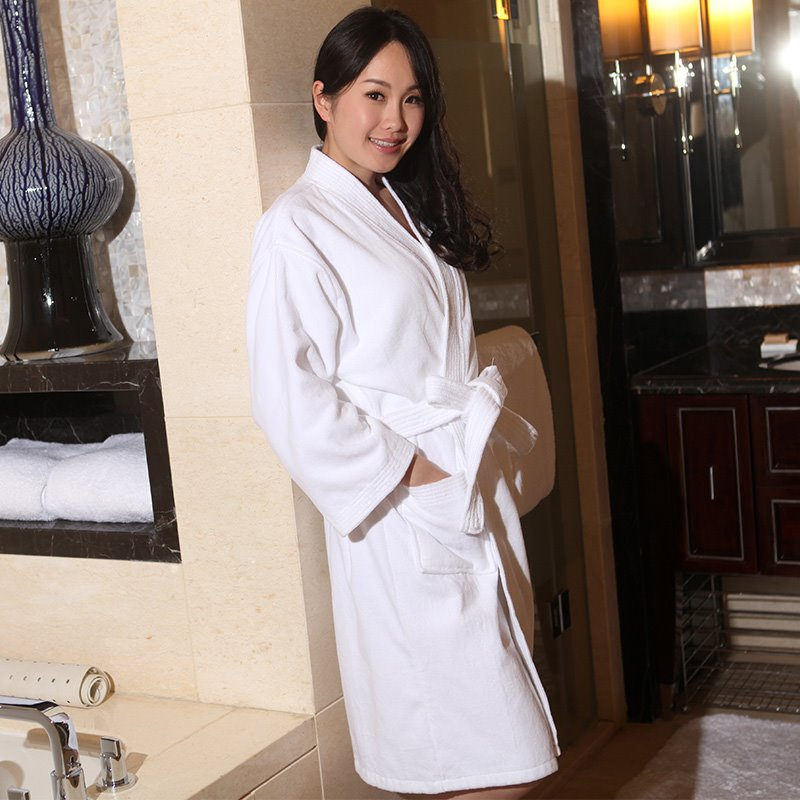 100% Cotton Super Soft Cut Pile Kimono Style Bathrobe For Women
