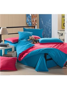 Trends Korean Style Subtle Contrast Color Cotton Queen Size  4 piece Bedding Sets