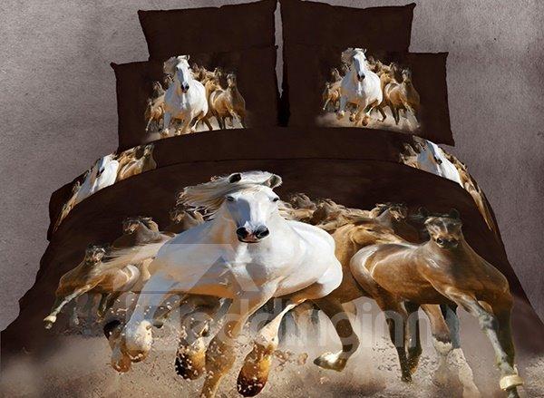 100% Cotton Reactive 3D Horses Printing 4 Piece Bedding Sets