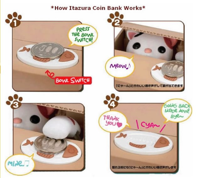 Creative Super Cute Stealing Money Kitten Piggy banks Saving pot