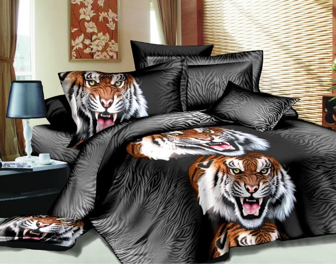 Fashion Roaring Tiger Print 3D 4 Piece Polyester Bedding Sets