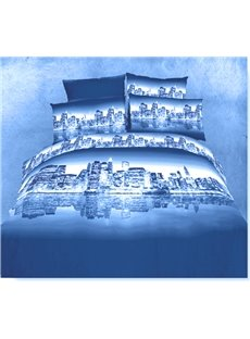 100% Cotton Night city scene duvet cover 4 piece Bedding sets