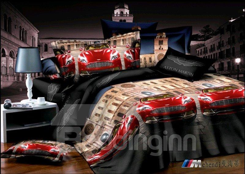 Cool Red Race Car Print 4 Piece Duvet Cover Bedding Sets