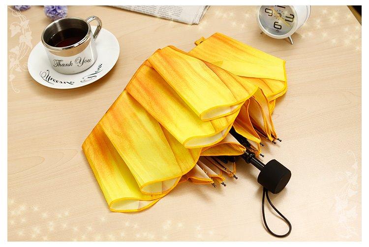High Quality 3D Sunflower Print Folding Umbrella Ultraviolet-proof