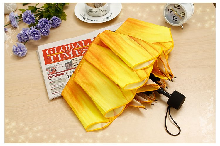 High Quality 3D Sunflower Print Folding Umbrella Ultraviolet-proof