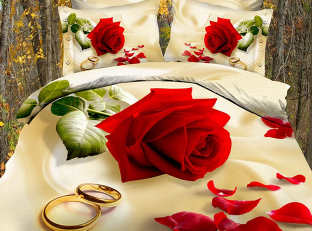 3D All-Season Ultra-soft Microfiber Printed Cotton 4-Piece Bedding Sets Red Rose with Golden Rings Bedroom
