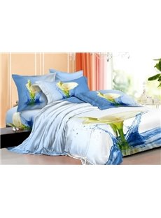 New Arrivals Dreamlike Blue Stone with Fresh Flowers 4 Pieces Bedding Sets