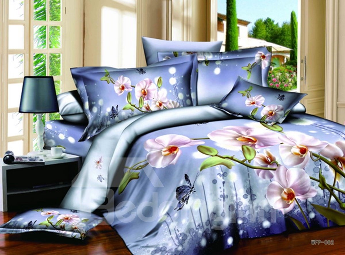 3D Phalaenopsis Printed Cotton 4-Piece Blue Bedding Sets/Duvet Cover