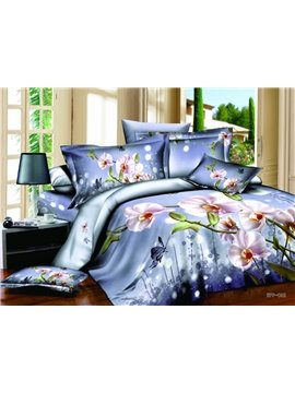 Amazing Purple Phalaenopsis 3D Print 4-Piece Cotton Duvet Cover Sets