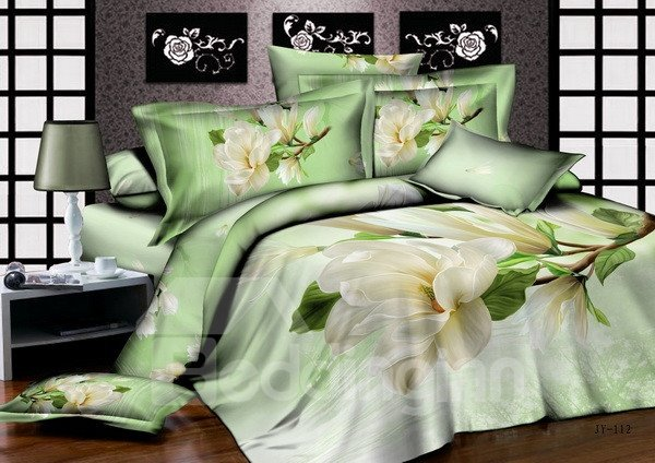 Rural Style Fresh Magnolia Print 4-Piece Cotton Duvet Cover Sets