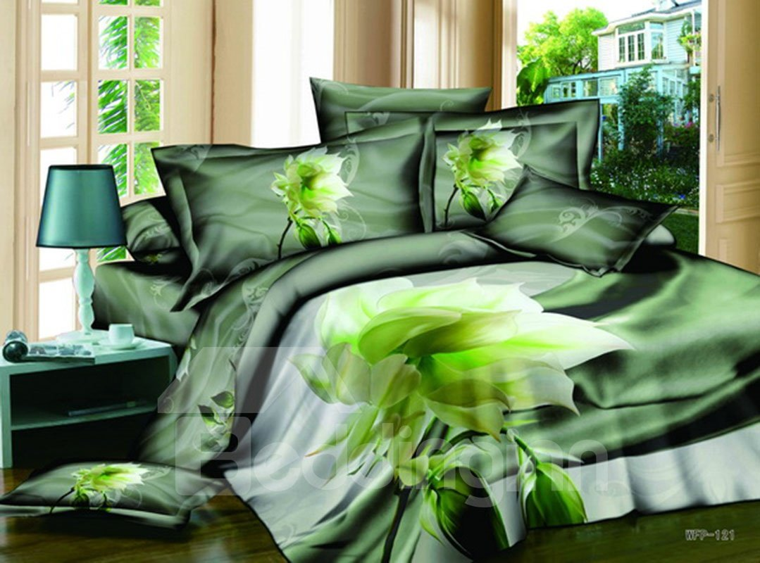 3D Green Lotus Printed Cotton 4-Piece Bedding Sets/Duvet Covers