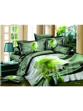 Dreamlike Fresh Green Datura Print 4-Piece Cotton Duvet Cover Sets