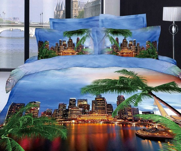 Modern City and Palm Tree 3D Bedding Set