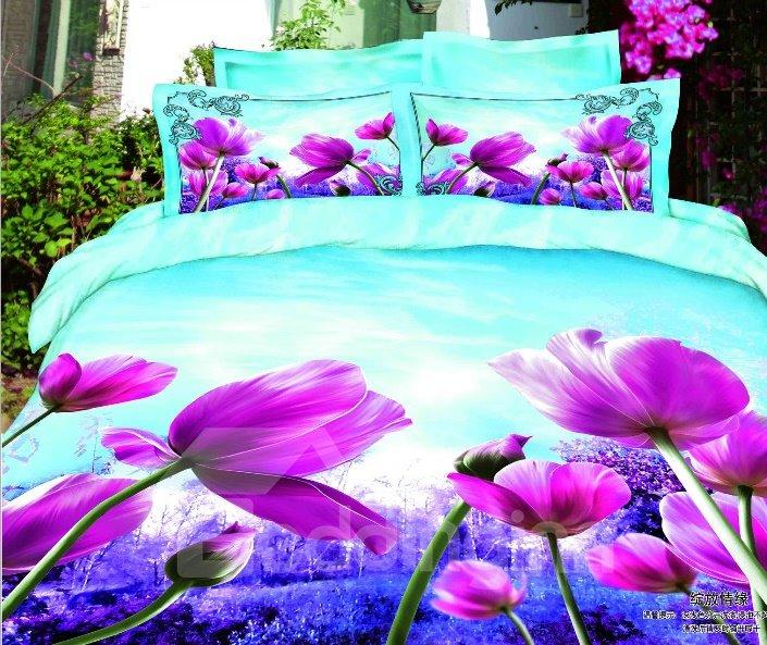 Splendid Realistic Purple Flower Print 4 Piece Duvet Cover Sets
