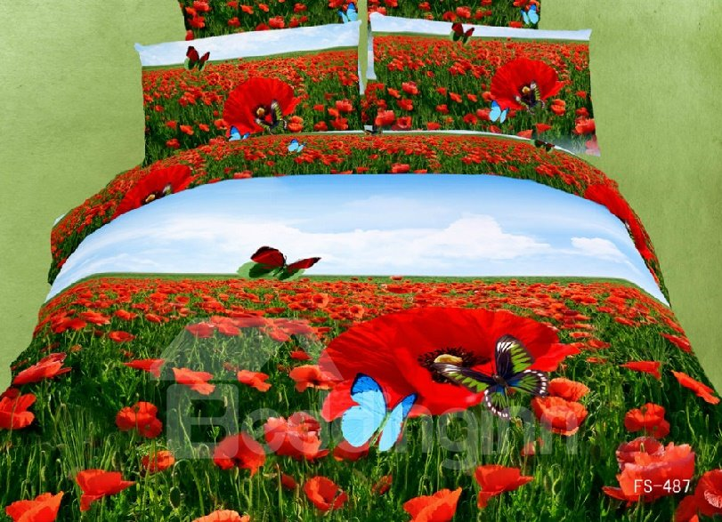 Red Poppy Flower And Erfly Print 4 Piece Cotton Duvet Cover Sets