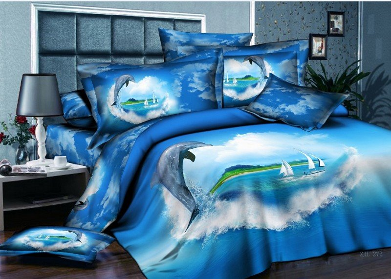 New Arrival Dolphin and Blue Heart Shape Ocean Print 4 Piece duvet cover/Bedding Sets