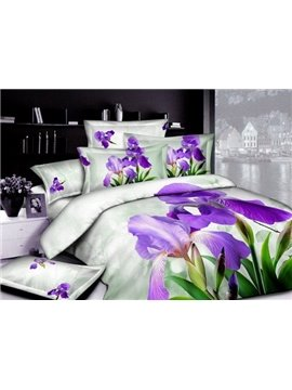 Purple Blooming Iris Tectorum 3D Printed 4-Piece Duvet Cover Sets