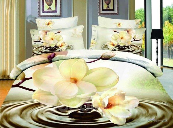 Gorgeous 3D Magnolia Print 4-Piece Cotton Duvet Cover Sets