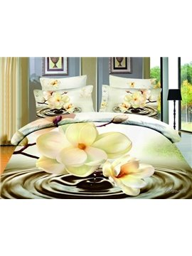 Gorgeous 3D Magnolia Print 4-Piece Cotton Duvet Cover Sets
