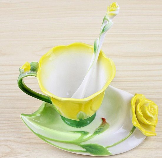 New Arrivals Hot Sell Creative Enamel Multipurpose Red/Pink/Blue/Yellow Roses Coffe Cups beddinginn