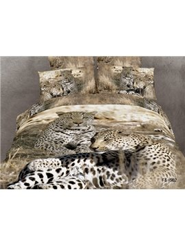 Unique Leopard 3D Animal Print 4 Piece Duvet Bedding Sets