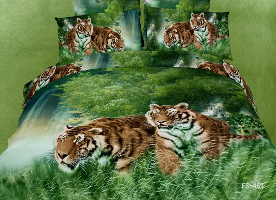 Tiger in the Jungle Print 4 Piece Bedding Sets Duvet Cover