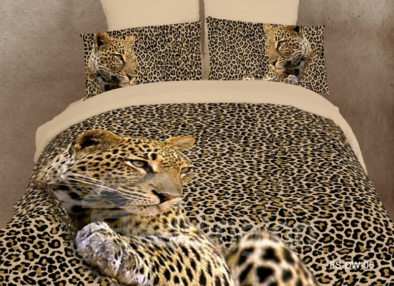 Amazing Leopard Print 4 Piece Bedding Sets/Duvet Cover Bedding ...