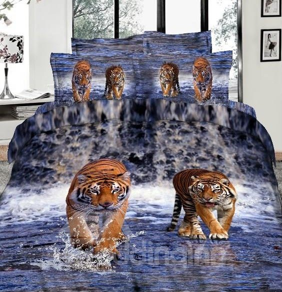 3D Tiger Walking in Waterfalls Printed Cotton 4-Piece Bedding Sets/Duvet Covers