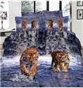 Imperial Lifelike Tiger 3D Printed 4-Piece Cotton Duvet Cover Sets