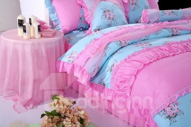 Beautiful Little Flower Print Princess Style 4 Piece Bedding Sets/Duvet Cover Sets