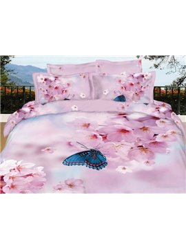 Pink Pear Blossom with Butterfly 3D Print 4-Piece Cotton Duvet Cover Sets