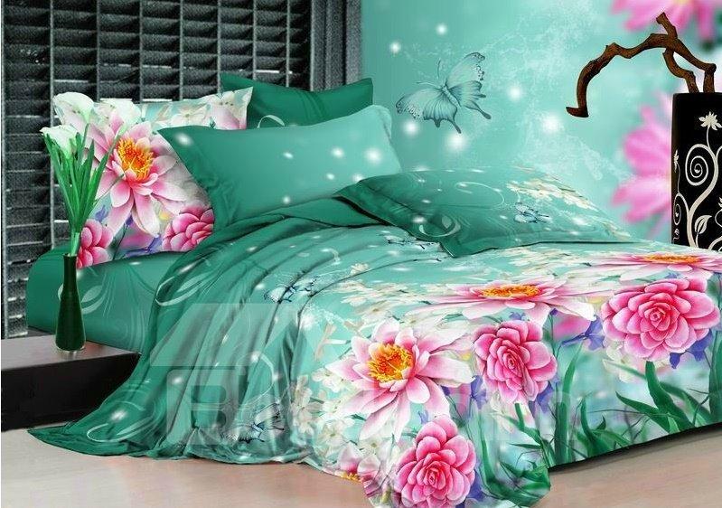 Beautiful Pink Peony Flower Print On Green Bedding Sets