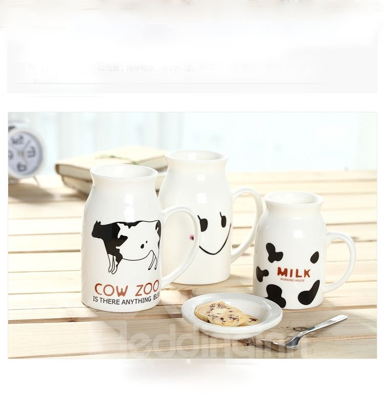 Super Lovely 450ml Milk Cups with Beautiful Letter and Cow Figure