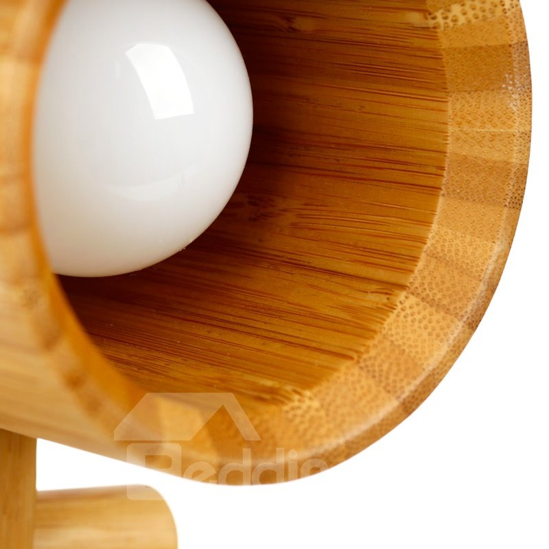Creative Design 100% Natural Bamboo LED Elegant Table Lamp