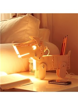 Amazing GEEKCOOK DIY Lovely Dog Figure Wooden Table Lamp