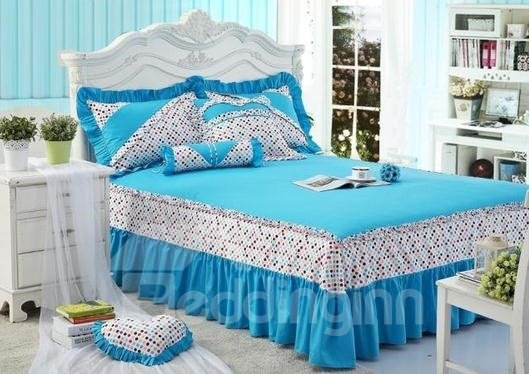 Lovely Blue Color with Cute Dot Princess Style Bedding Sets 4 Piece Duvet Cover Sets