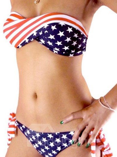 Sexy Stars and Stripes Wireless Swimwear Nylon Bikini Set