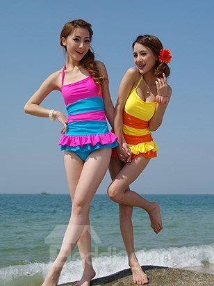 Sweety Pink and Blue Swimwear with Falbala One-piece Tankini