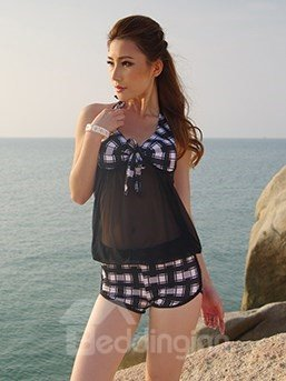 Black Plaid Short Sleeve Swimwear Sexy Halter Tankini