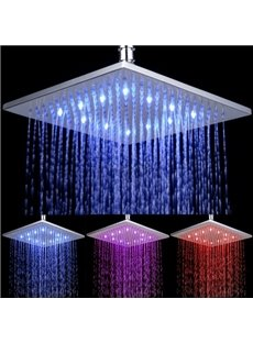 10 Inches Pure Copper 3 Color Changing by Water Temperature LED Shower Head