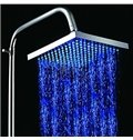 8 Inches LED Changing Color Pure Copper Shower Head Faucet