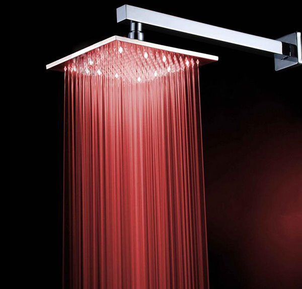 10 Inches Square Pure Copper LED Shower Head Faucet