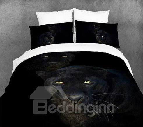 3D Black Panther Printed Cotton Full Size 4-Piece Bedding Sets/Duvet Covers