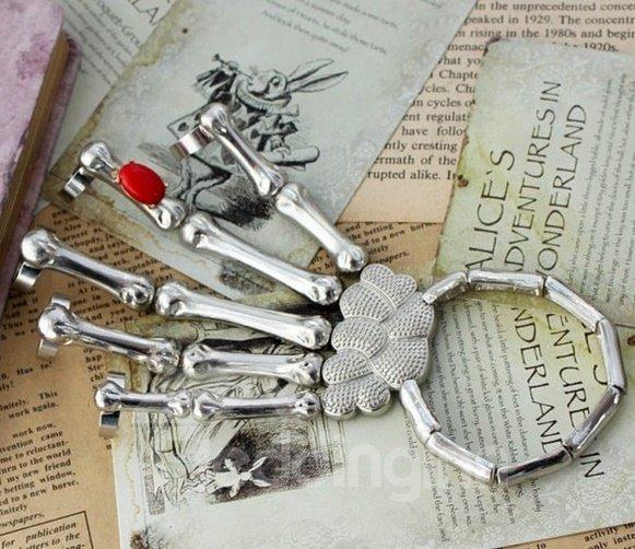 Silver and Gold Punk Goth Skeleton Skull Bones Talon Hand Bracelet Ring with Bead