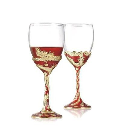Dragon and Phoenix Decorated Red & Golden Color Red Wine Glasses/2 Pieces