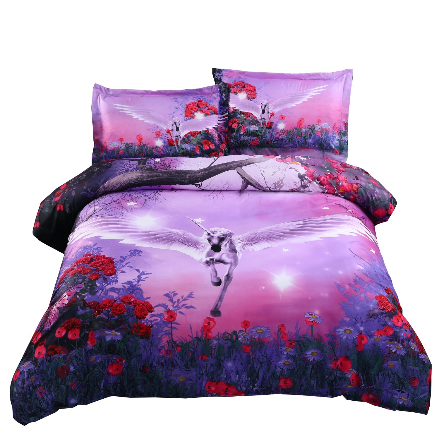 Dreamlike Flying horse with wings Purple Bedding Sets