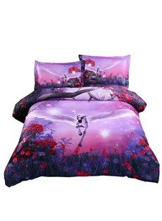 Dreamlike Flying Unicorn with Wings Purple 4-Piece Polyester Duvet Cover Sets