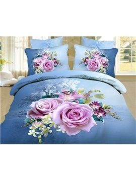 Unique 3D Roses Printed 4-Piece Cotton Duvet Cover Sets