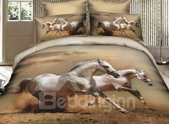 White Horses Lifelike Print 4 Piece Cotton Bedding sets